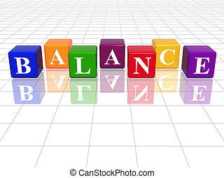 colour balance - 3d colour cubes with text - balance, word,...