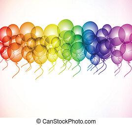Colour balloon in the air. Vector