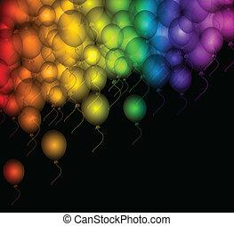 Colour balloon on black over. Vector
