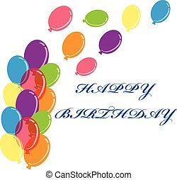 Colour balloons on white background. Vector illustration.