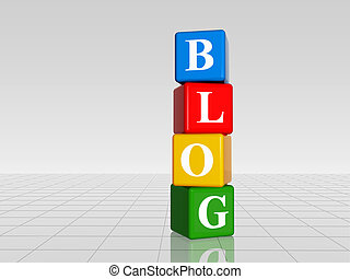 colour blog with reflection - 3d colour boxes with white...