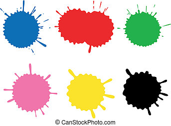 Colour blots. A set. - Set of blots and stains. Stains and ...