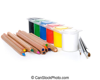 colour-box with pencils isolated on a white background