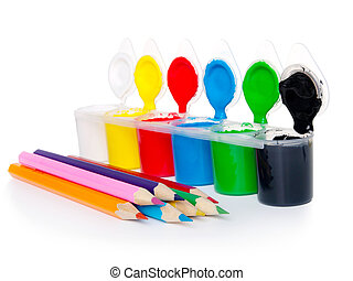 colour-box with pencils on a white background