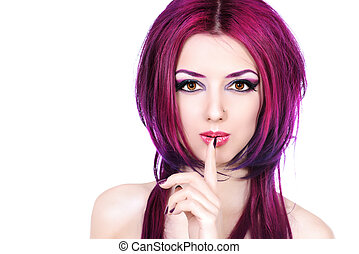 colour cosmetics - Beautiful young woman with bright crimson...