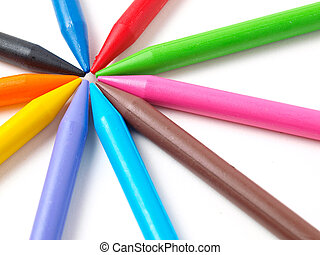 Colour crayons isolated on white
