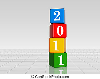 colour cubes with 2011 with reflection