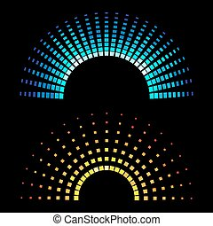 Colour equaliser half round soundwaves