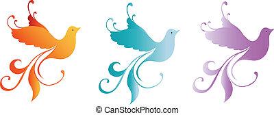 Colour Folk Birds - colourful bitds illustration