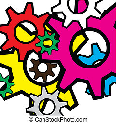 Colour gears. Vector illustration - Colour gears on a white...