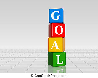 colour goal with reflection - 3d colour boxes with white ...