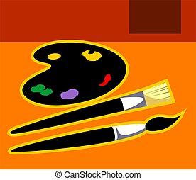 colour - Illustration of a palette and brushes