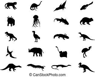 colour., ilustración, dinosaurios, siluetas, vector, negro