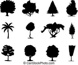 colour., ilustración, one-ton, vector, negro, árboles