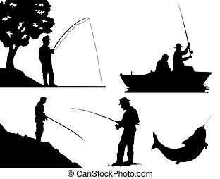 colour., ilustración, siluetas, vector, negro, pescadores