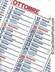 Colour Italian calendar - October month