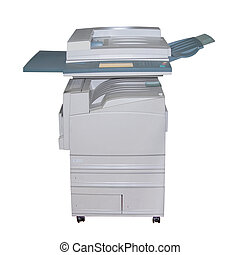 Colour laser copier isolated over white