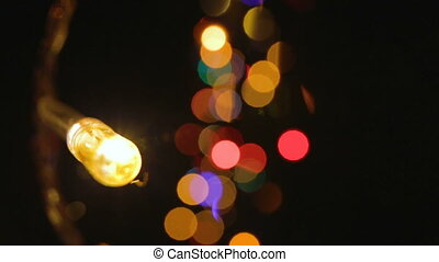 Colour lights and bokeh effect - Footage of colour lights...