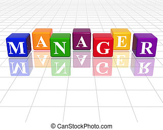 colour manager - 3d colour cubes with text - manager, word, ...