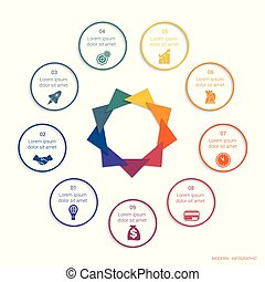 Colour modern infographic concept for 9 positions possible ...
