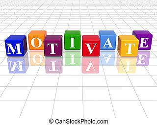 colour motivate - 3d colour cubes with text - motivate, word...
