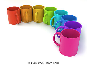 render of eight coloured mugs