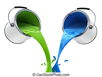 colour paint pouring from bucket 3d-illustration, isolated...