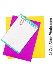 Colour paper with a paper clip