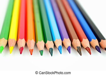 Colour pen in line on the white background
