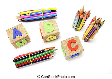 Colour Pencils and Alphabet Blocks