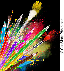 Colour pencils isolated on black background close up