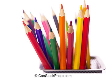 Colour pencils isolated on the white background