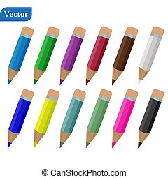 Colour pencils isolated on white background. Colorful pens. Eps 10