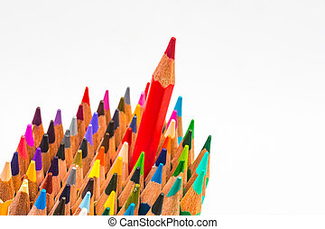 Colour pencils isolated on white background, red colour different