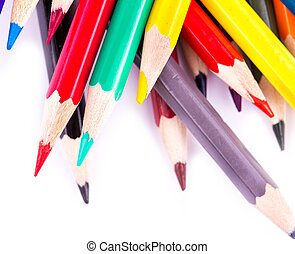 Colour pencils isolated on white background. Back to school...