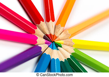 Colour pencils on white background.