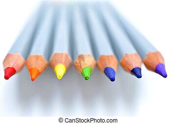 colour pencils on white background