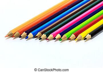 Colour pencils on white