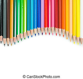 Colour pencils - Spectrum of color pencils with white...