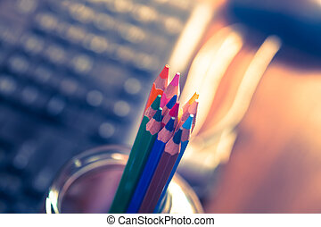 Colour pencils.