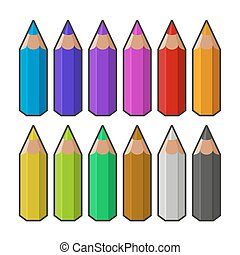 Colour pencils. Vector - Colour pencils isolated on white ...