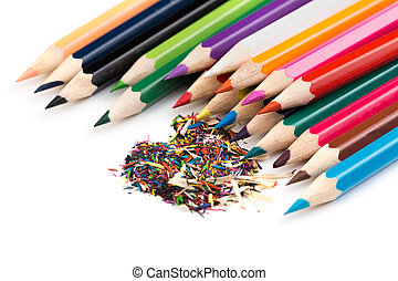 colour pencils with shavings isolated on white.