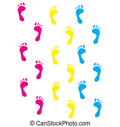 Colour prints of feet on a white background. vector
