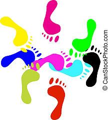 Colour prints of feet.Vector