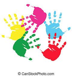 Colour prints of hands.Vector