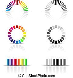 vector illustration of colour profile samples, cmyk, rgb