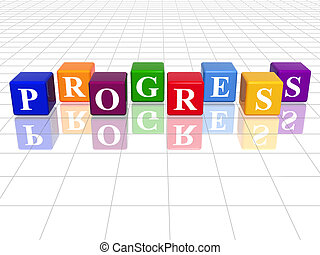 colour progress - 3d colour cubes with text - progress,...