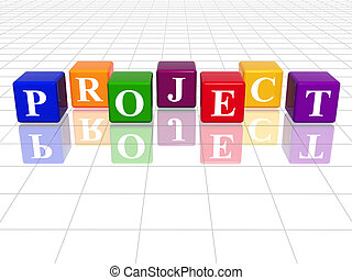 3d colour cubes with text - project, word, with reflection