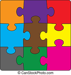 Colour puzzles.Vector illustration - Colour puzzles on a...