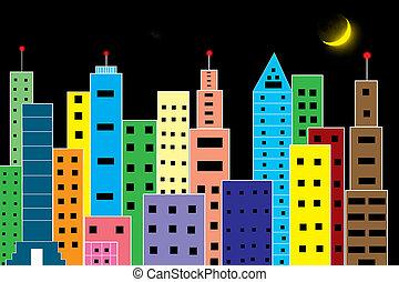 skyscraper - colour skyscraper on  black background